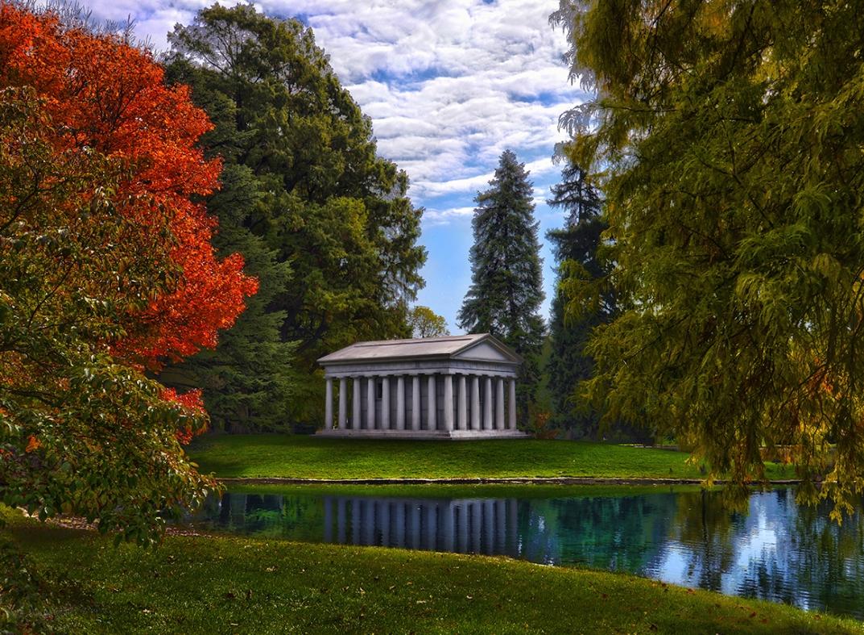 Pillars & Pond In Fall