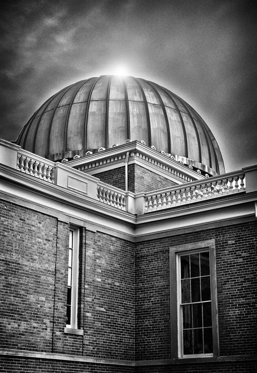 Sun Peeking Over Cincinnati Observatory
