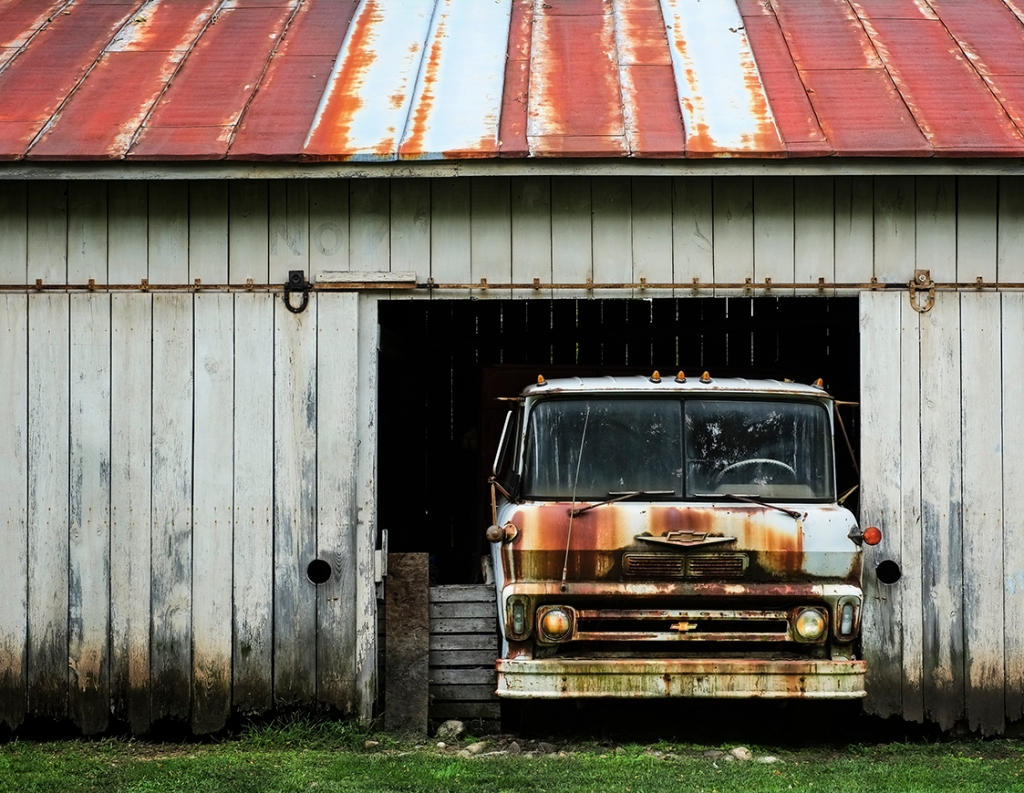 Old Truck In Barn